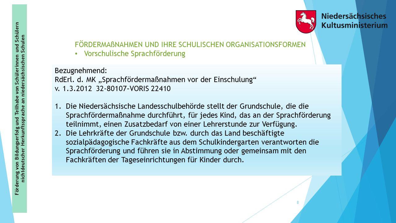 """Bezugnehmend: RdErl. d. MK """"Sprachfördermaßnahmen vor der Einschulung"""" v. 1.3.2012 32-80107–VORIS 22410 1.Die Niedersächsische Landesschulbehörde stel"""