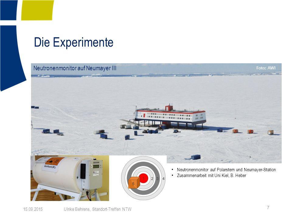 Die Experimente 7 15.09.2015 Ulrike Behrens, Standort-Treffen NTW Foto: AWI Neutronenmonitor auf Polarstern und Neumayer-Station Zusammenarbeit mit Uni Kiel, B.