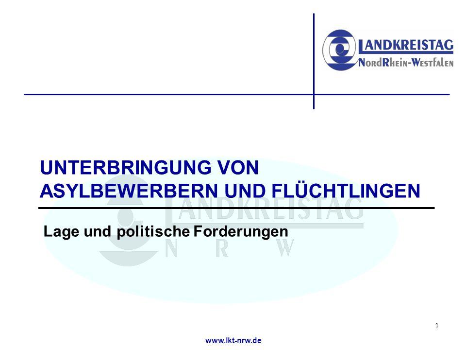 www.lkt-nrw.de UNTERBRINGUNG VON ASYLBEWERBERN UND FLÜCHTLINGEN Lage und politische Forderungen 1