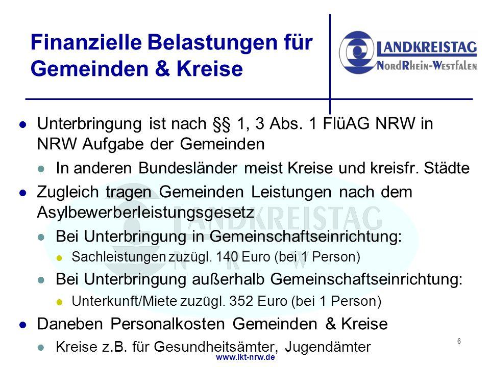 www.lkt-nrw.de Finanzielle Belastungen für Gemeinden & Kreise Unterbringung ist nach §§ 1, 3 Abs.