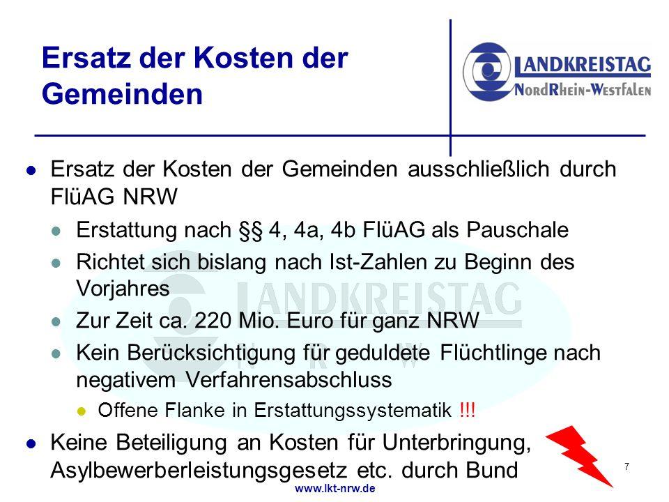 www.lkt-nrw.de Ersatz der Kosten der Gemeinden Ersatz der Kosten der Gemeinden ausschließlich durch FlüAG NRW Erstattung nach §§ 4, 4a, 4b FlüAG als Pauschale Richtet sich bislang nach Ist-Zahlen zu Beginn des Vorjahres Zur Zeit ca.