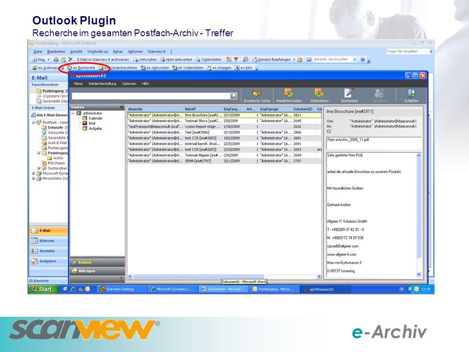 e-Archiv Outlook Plugin Recherche im gesamten Postfach-Archiv - Treffer