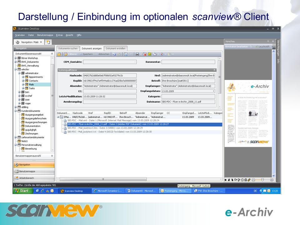 e-Archiv Darstellung / Einbindung im optionalen scanview® Client