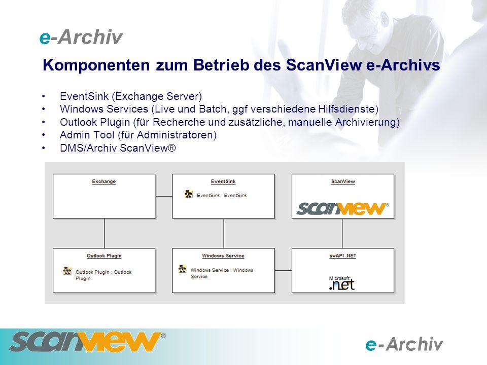 e-Archiv Komponenten zum Betrieb des ScanView e-Archivs EventSink (Exchange Server) Windows Services (Live und Batch, ggf verschiedene Hilfsdienste) Outlook Plugin (für Recherche und zusätzliche, manuelle Archivierung) Admin Tool (für Administratoren) DMS/Archiv ScanView® e-Archiv
