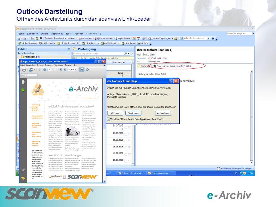 e-Archiv Outlook Darstellung Öffnen des ArchivLinks durch den scanview Link-Loader