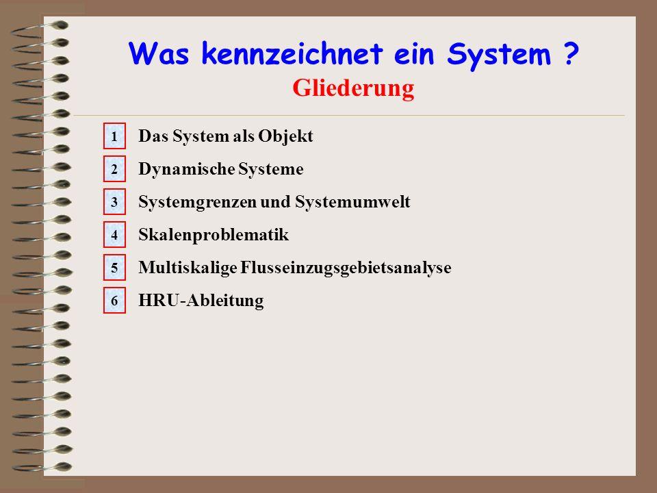 Was kennzeichnet ein System ? Gliederung Das System als Objekt 1 Dynamische Systeme 2 Systemgrenzen und Systemumwelt 3 Skalenproblematik 4 Multiskalig
