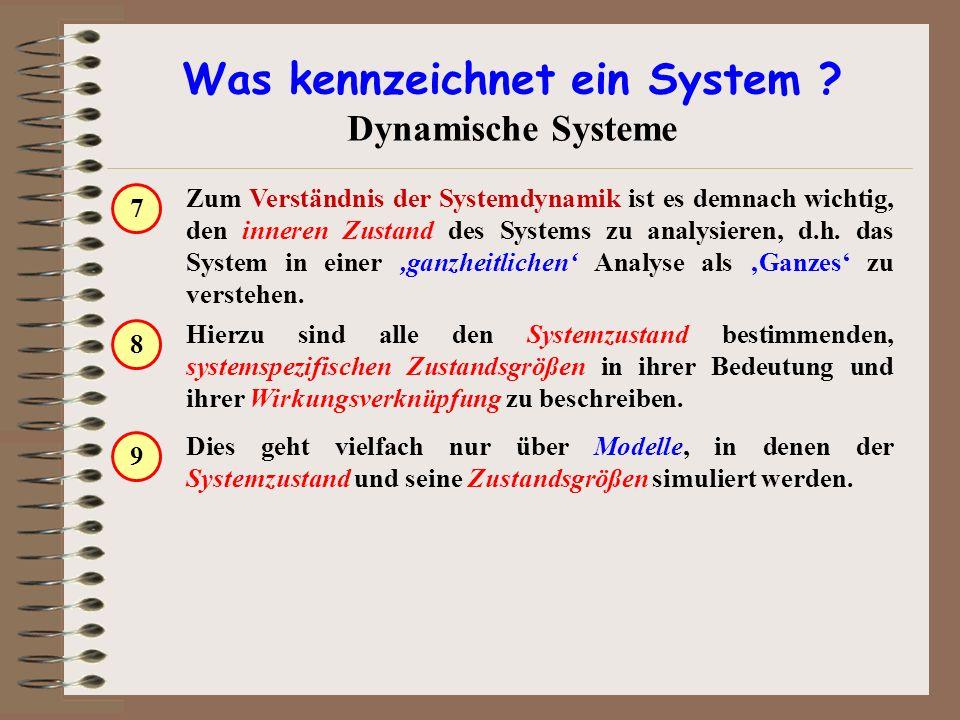Was kennzeichnet ein System ? Dynamische Systeme Zum Verständnis der Systemdynamik ist es demnach wichtig, den inneren Zustand des Systems zu analysie