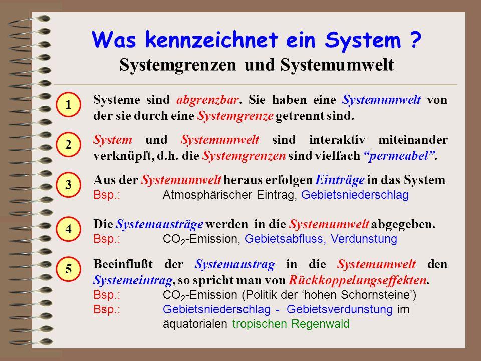 Was kennzeichnet ein System ? Systemgrenzen und Systemumwelt Systeme sind abgrenzbar. Sie haben eine Systemumwelt von der sie durch eine Systemgrenze