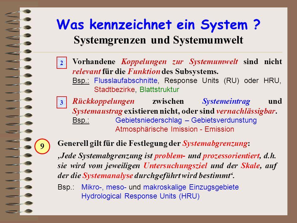 Was kennzeichnet ein System ? Systemgrenzen und Systemumwelt Vorhandene Koppelungen zur Systemumwelt sind nicht relevant für die Funktion des Subsyste