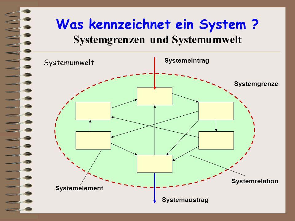 Was kennzeichnet ein System ? Systemgrenzen und Systemumwelt Systemumwelt Systemeintrag Systemgrenze Systemrelation Systemaustrag Systemelement