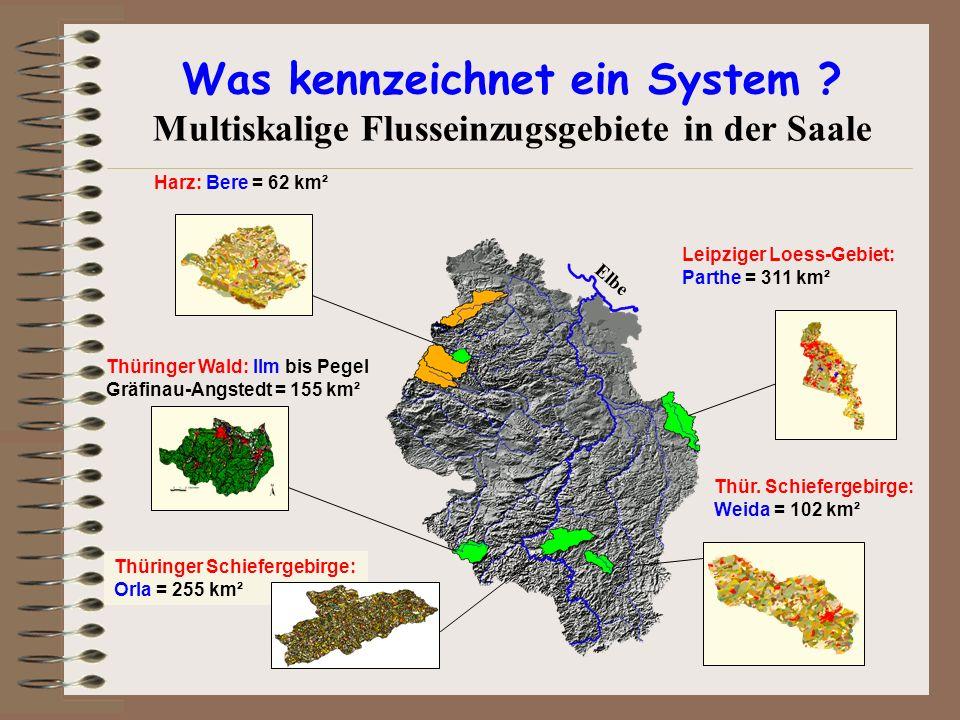 Thür. Schiefergebirge: Weida = 102 km² Leipziger Loess-Gebiet: Parthe = 311 km² Harz: Bere = 62 km² Thüringer Schiefergebirge: Orla = 255 km² Thüringe