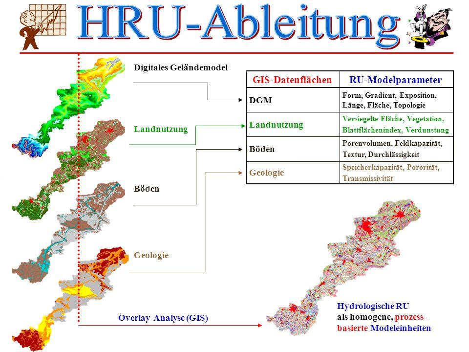 Landnutzung Geologie RU-ModelparameterGIS-Datenflächen Böden Digitales Geländemodel Form, Gradient, Exposition, Länge, Fläche, Topologie DGM Versiegel