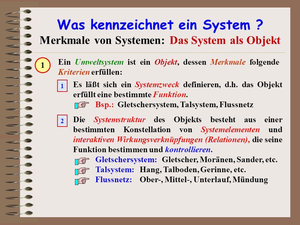 Was kennzeichnet ein System ? Merkmale von Systemen: Das System als Objekt Ein Umweltsystem ist ein Objekt, dessen Merkmale folgende Kriterien erfülle