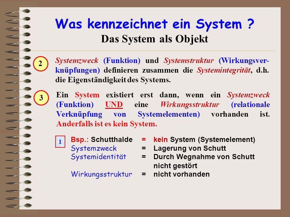Was kennzeichnet ein System ? Das System als Objekt Ein System existiert erst dann, wenn ein Systemzweck (Funktion) UND eine Wirkungsstruktur (relatio