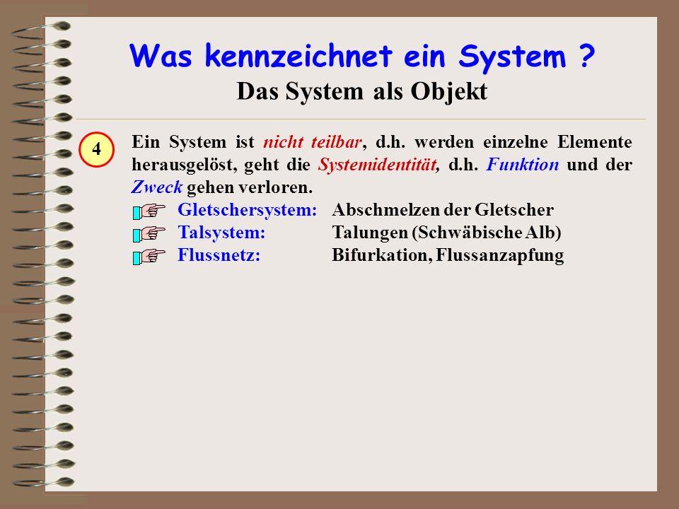 Was kennzeichnet ein System ? Das System als Objekt Ein System ist nicht teilbar, d.h. werden einzelne Elemente herausgelöst, geht die Systemidentität