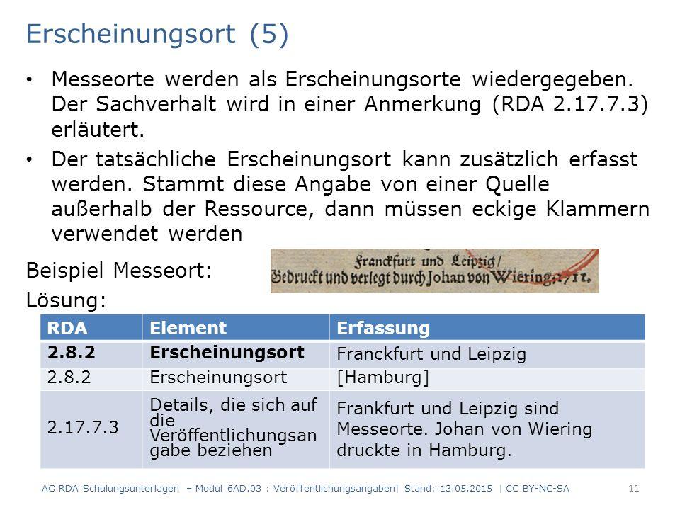 Erscheinungsort (5) Messeorte werden als Erscheinungsorte wiedergegeben. Der Sachverhalt wird in einer Anmerkung (RDA 2.17.7.3) erläutert. Der tatsäch