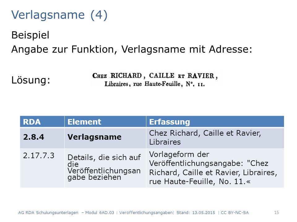 Verlagsname (4) Beispiel Angabe zur Funktion, Verlagsname mit Adresse: Lösung: 15 RDAElementErfassung 2.8.4Verlagsname Chez Richard, Caille et Ravier,