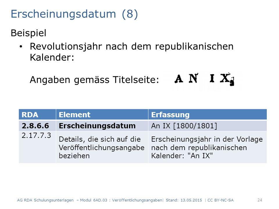 Erscheinungsdatum (8) Beispiel Revolutionsjahr nach dem republikanischen Kalender: Angaben gemäss Titelseite: 24 RDAElementErfassung 2.8.6.6Erscheinun
