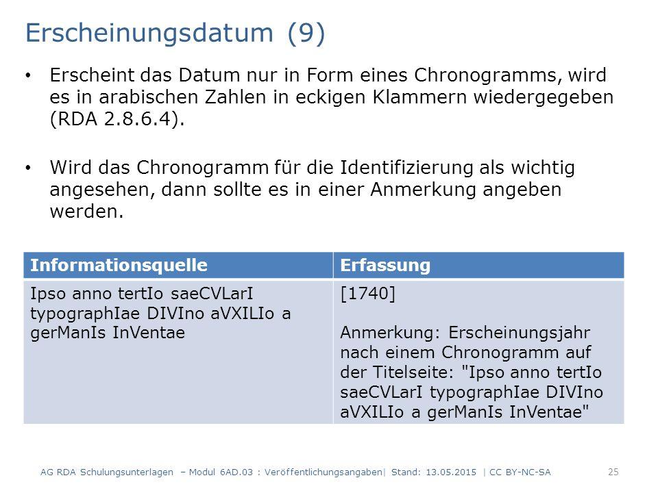 Erscheinungsdatum (9) Erscheint das Datum nur in Form eines Chronogramms, wird es in arabischen Zahlen in eckigen Klammern wiedergegeben (RDA 2.8.6.4)