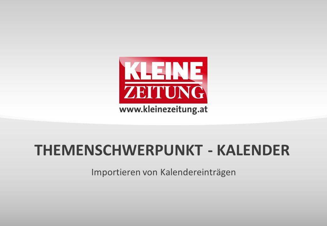 Importieren von Kalendereinträgen THEMENSCHWERPUNKT - KALENDER