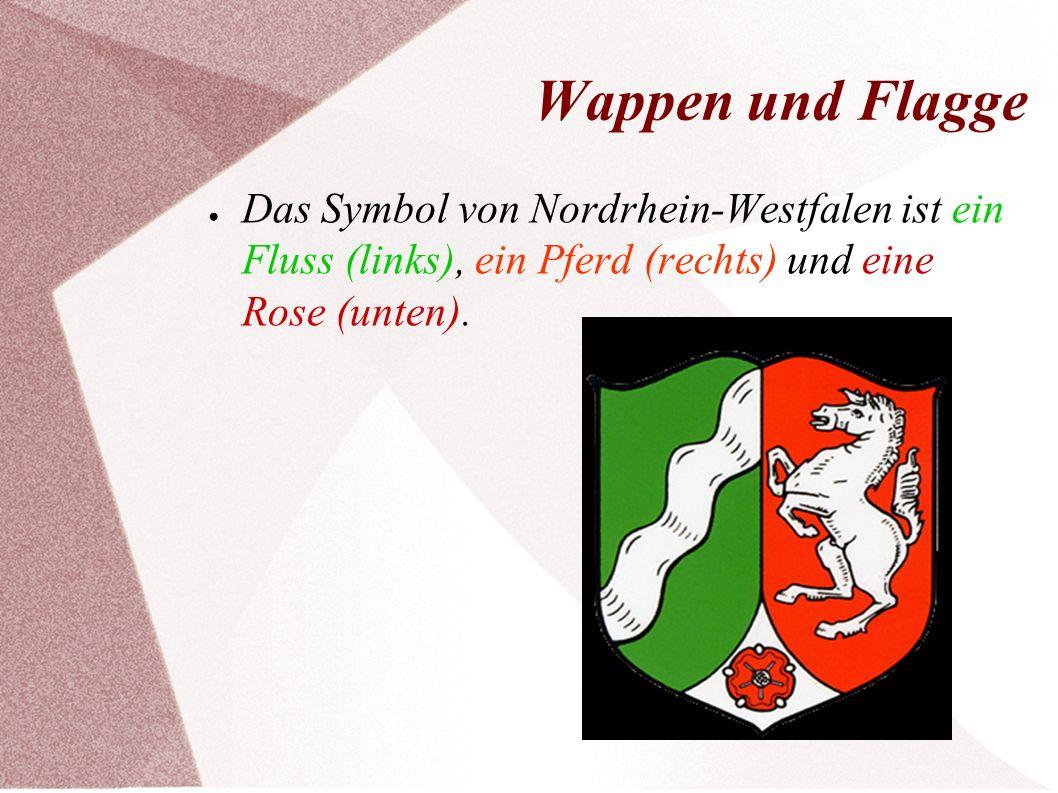 Wappen und Flagge ● Das Symbol von Nordrhein-Westfalen ist ein Fluss (links), ein Pferd (rechts) und eine Rose (unten).