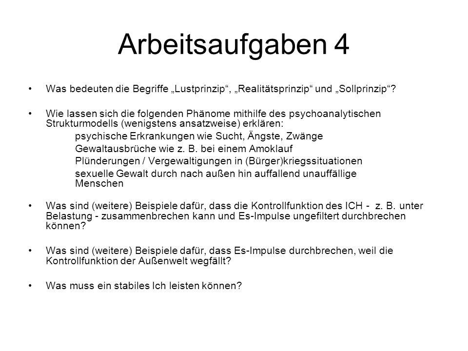 """Arbeitsaufgaben 4 Was bedeuten die Begriffe """"Lustprinzip"""", """"Realitätsprinzip"""" und """"Sollprinzip""""? Wie lassen sich die folgenden Phänome mithilfe des ps"""