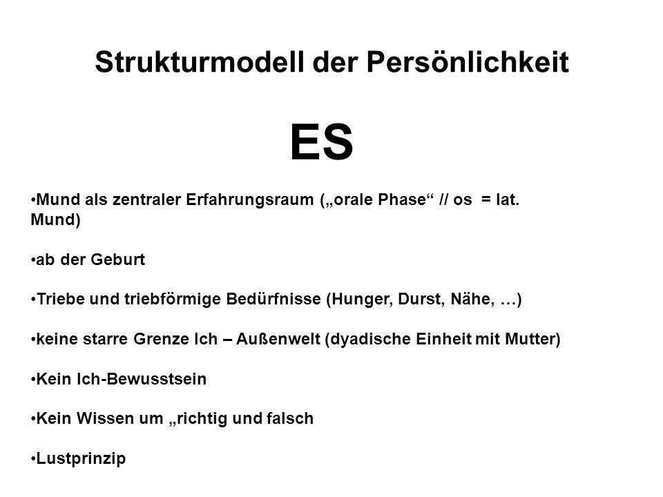 """Strukturmodell der Persönlichkeit ES Mund als zentraler Erfahrungsraum (""""orale Phase"""" // os = lat. Mund) ab der Geburt Triebe und triebförmige Bedürfn"""