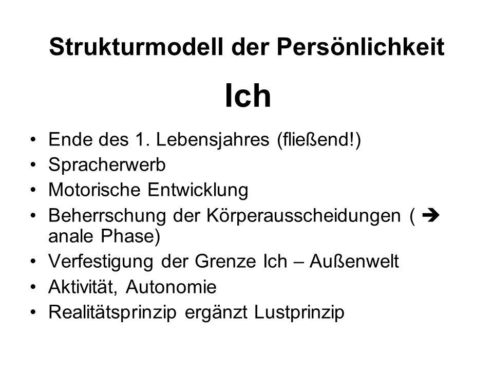 Strukturmodell der Persönlichkeit Ende des 1. Lebensjahres (fließend!) Spracherwerb Motorische Entwicklung Beherrschung der Körperausscheidungen (  a