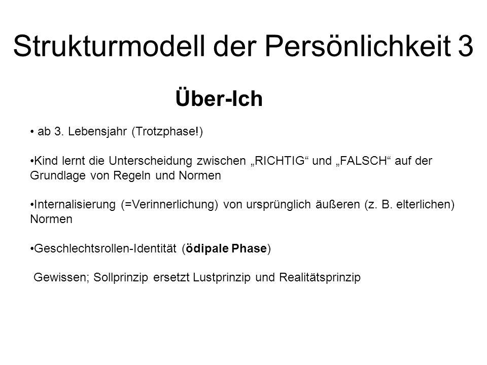 """Strukturmodell der Persönlichkeit 3 Über-Ich ab 3. Lebensjahr (Trotzphase!) Kind lernt die Unterscheidung zwischen """"RICHTIG"""" und """"FALSCH"""" auf der Grun"""