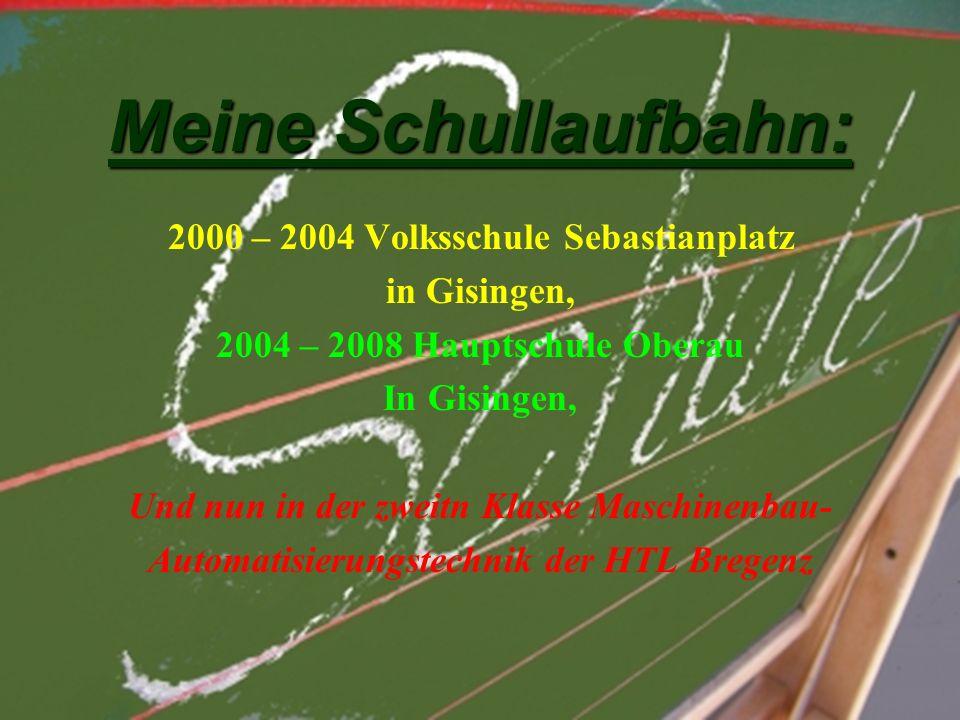Meine Schullaufbahn: 2000 – 2004 Volksschule Sebastianplatz in Gisingen, 2004 – 2008 Hauptschule Oberau In Gisingen, Und nun in der zweitn Klasse Maschinenbau- Automatisierungstechnik der HTL Bregenz