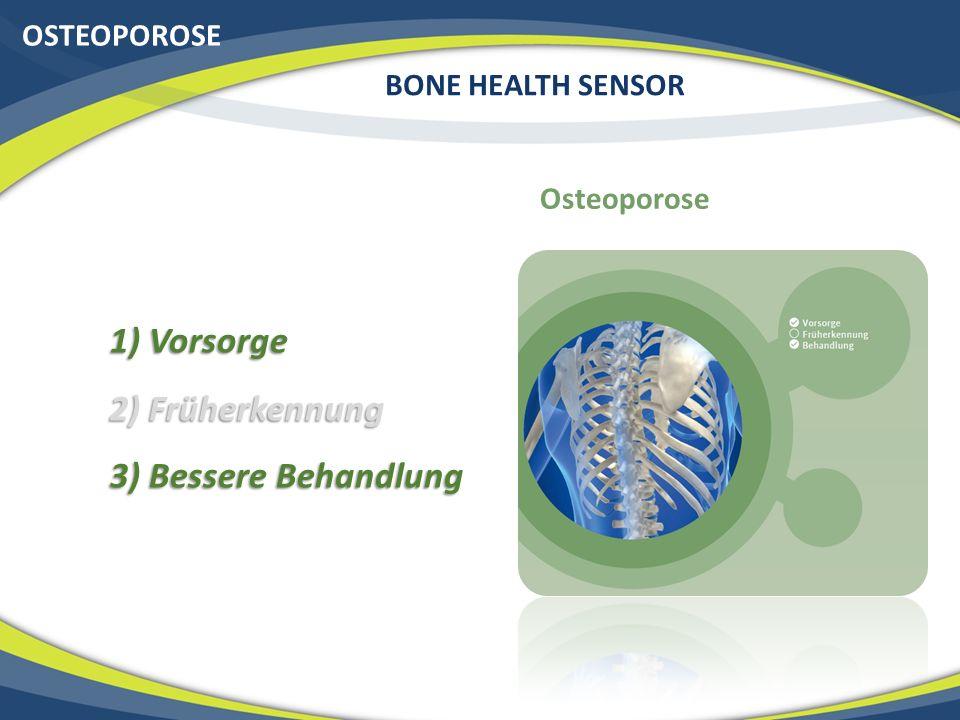 OSTEOPOROSE BONE HEALTH SENSOR Osteoporose 1) Vorsorge 2) Früherkennung 3) Bessere Behandlung