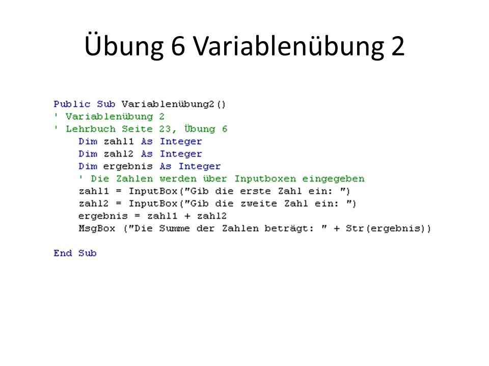 Übung 6 Variablenübung 2