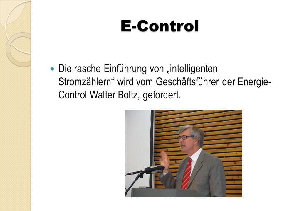 """E-Control Die rasche Einführung von """"intelligenten Stromzählern"""" wird vom Geschäftsführer der Energie- Control Walter Boltz, gefordert."""