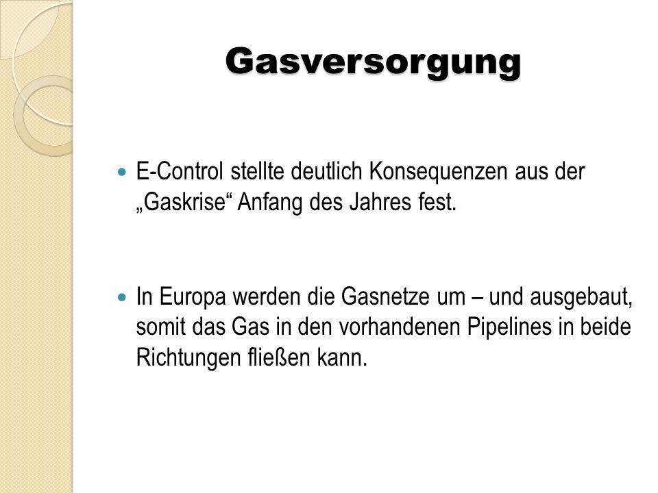 """Gasversorgung E-Control stellte deutlich Konsequenzen aus der """"Gaskrise"""" Anfang des Jahres fest. In Europa werden die Gasnetze um – und ausgebaut, som"""