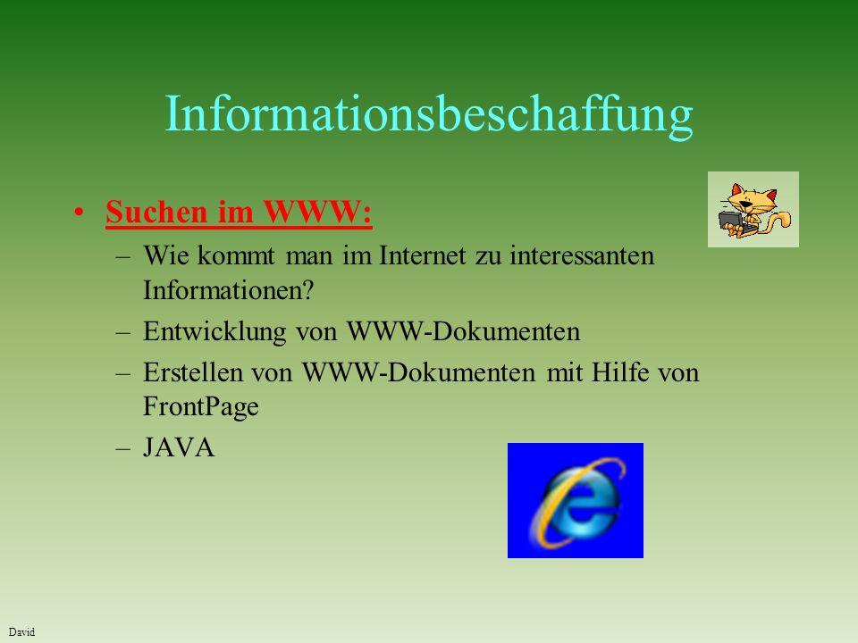Informationsbeschaffung Suchen im WWW: –Wie kommt man im Internet zu interessanten Informationen.