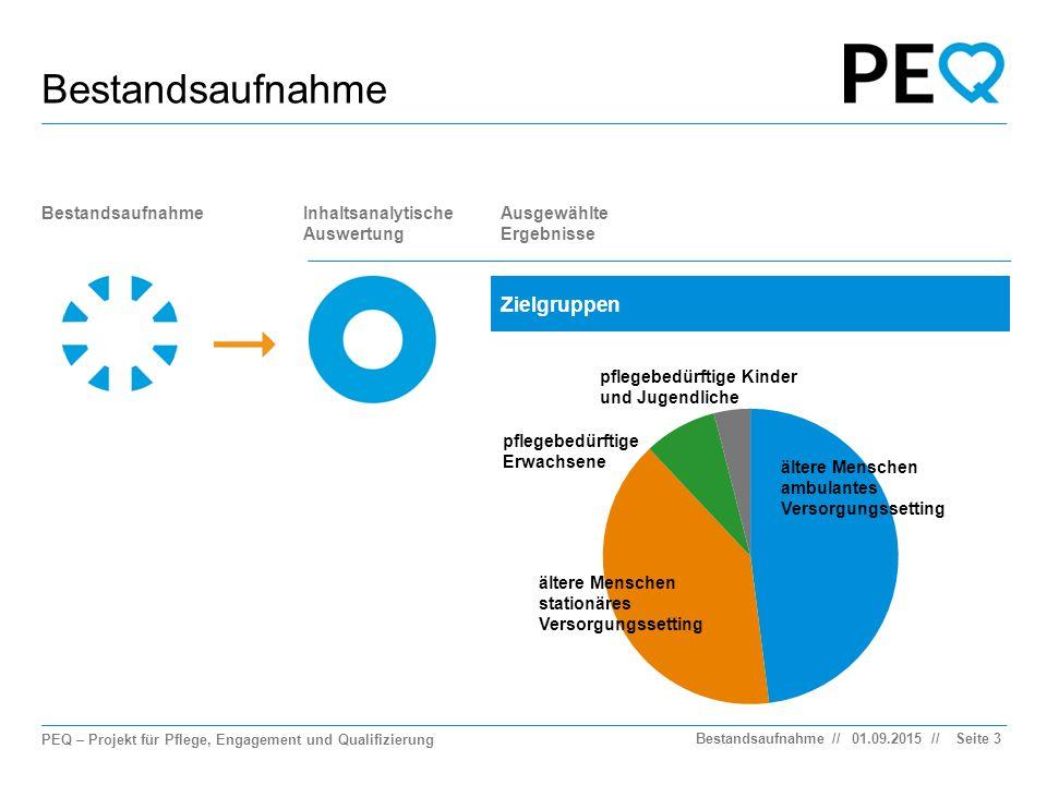 PEQ – Projekt für Pflege, Engagement und Qualifizierung // Bestandsaufnahme Seite 4 BestandsaufnahmeInhaltsanalytische Auswertung Ausgewählte Ergebnisse Kurssysteme 01.09.2015Bestandsaufnahme