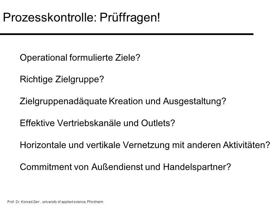 Prof. Dr. Konrad Zerr, university of applied science, Pforzheim Prozesskontrolle: Prüffragen! Operational formulierte Ziele? Richtige Zielgruppe? Ziel