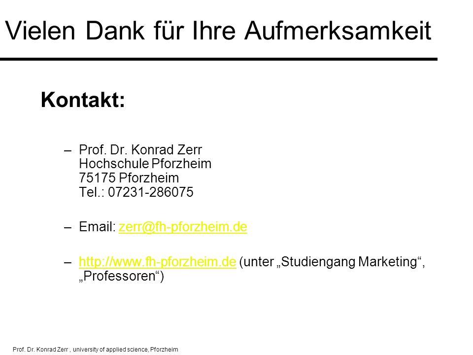 Prof. Dr. Konrad Zerr, university of applied science, Pforzheim Vielen Dank für Ihre Aufmerksamkeit Kontakt: –Prof. Dr. Konrad Zerr Hochschule Pforzhe