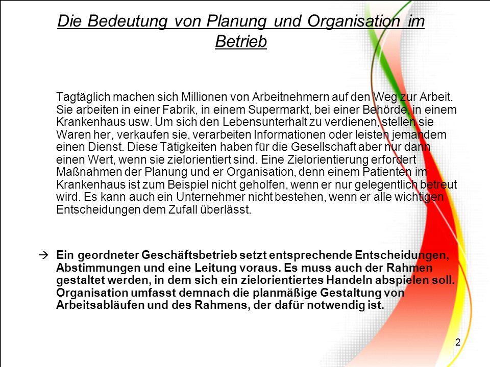 3 (Aus Wirtschaftlicher sicht) Betrieb = Ort der Leistungserstellung Betriebsleitung bestimmt welche Leistung der Betrieb erbringen soll.
