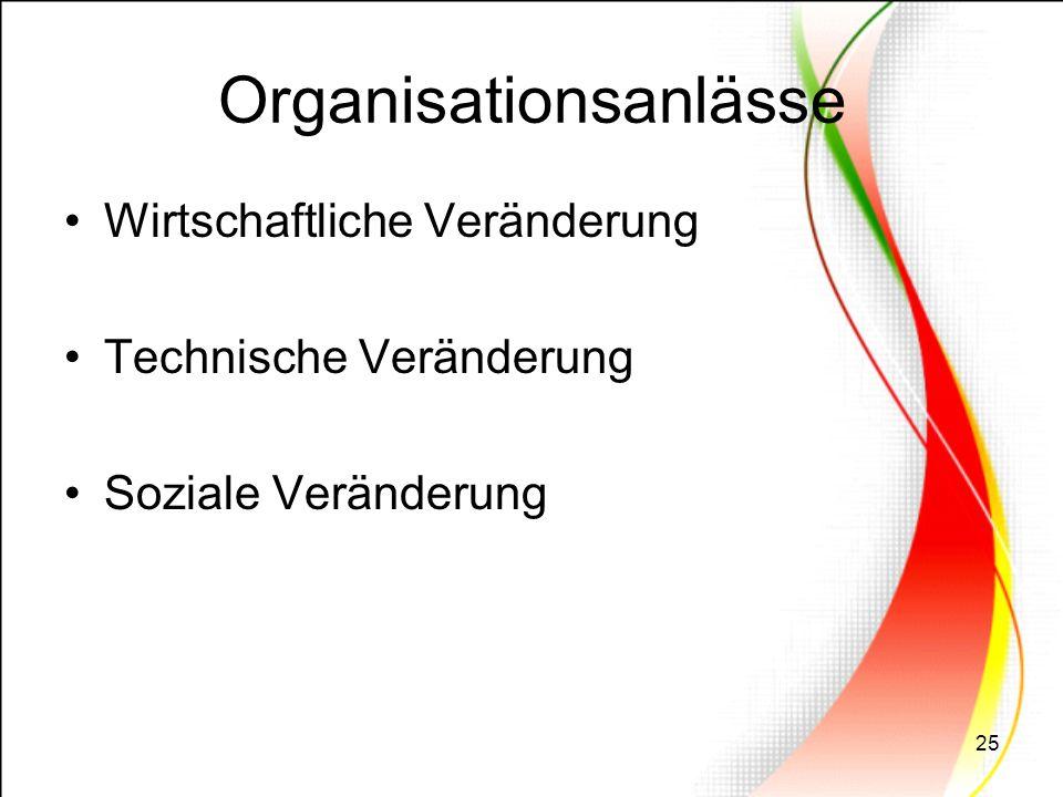 25 Organisationsanlässe Wirtschaftliche Veränderung Technische Veränderung Soziale Veränderung