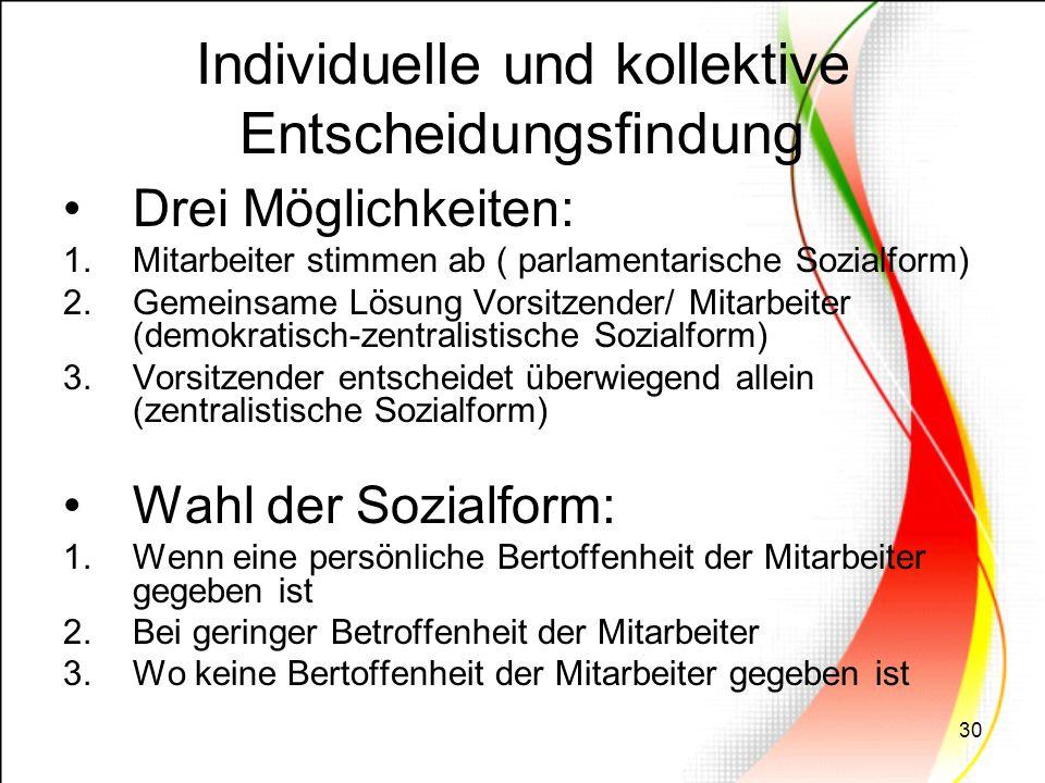 30 Individuelle und kollektive Entscheidungsfindung Drei Möglichkeiten: 1.Mitarbeiter stimmen ab ( parlamentarische Sozialform) 2.Gemeinsame Lösung Vo