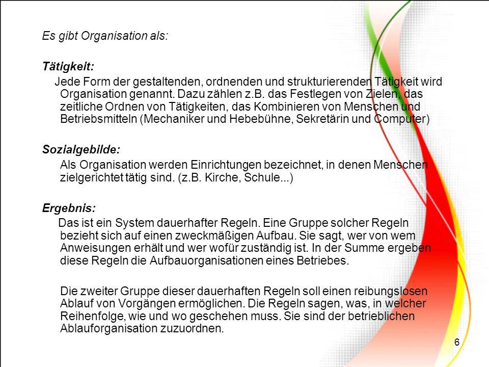 6 Es gibt Organisation als: Tätigkeit: Jede Form der gestaltenden, ordnenden und strukturierenden Tätigkeit wird Organisation genannt. Dazu zählen z.B