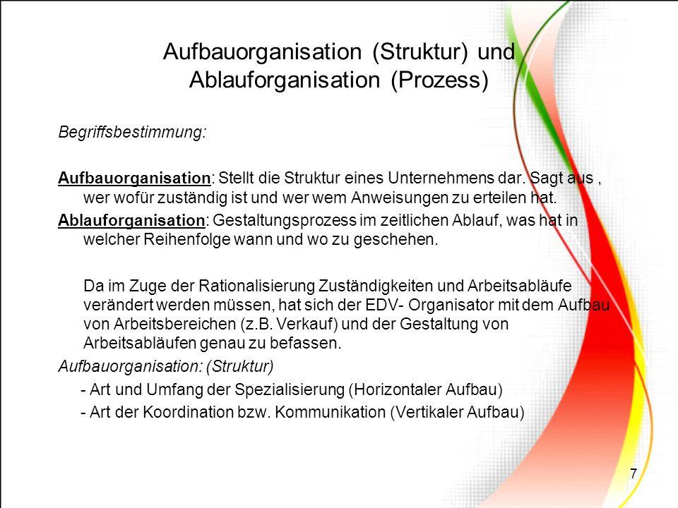 7 Aufbauorganisation (Struktur) und Ablauforganisation (Prozess) Begriffsbestimmung: Aufbauorganisation: Stellt die Struktur eines Unternehmens dar. S
