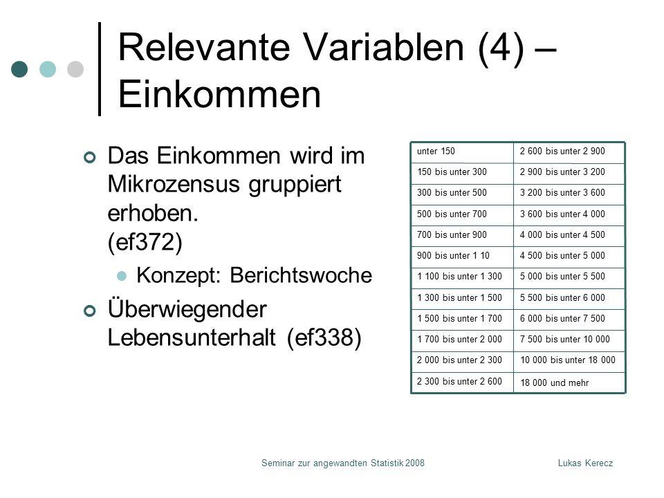 Lukas KereczSeminar zur angewandten Statistik 2008 Relevante Variablen (4) – Einkommen Das Einkommen wird im Mikrozensus gruppiert erhoben. (ef372) K