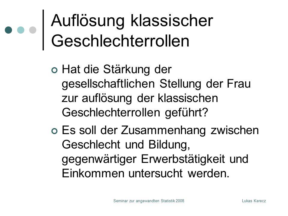 Lukas KereczSeminar zur angewandten Statistik 2008 Auflösung klassischer Geschlechterrollen Hat die Stärkung der gesellschaftlichen Stellung der Frau