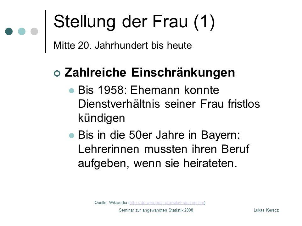 Lukas KereczSeminar zur angewandten Statistik 2008 Stellung der Frau (1) Mitte 20. Jahrhundert bis heute Zahlreiche Einschränkungen Bis 1958: Ehemann