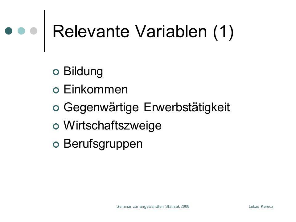 Lukas KereczSeminar zur angewandten Statistik 2008 Relevante Variablen (1) Bildung Einkommen Gegenwärtige Erwerbstätigkeit Wirtschaftszweige Berufsgr