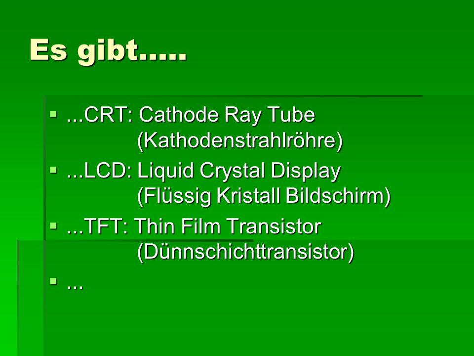 Es gibt..... ...CRT: Cathode Ray Tube (Kathodenstrahlröhre) ...LCD: Liquid Crystal Display (Flüssig Kristall Bildschirm) ...TFT: Thin Film Transist