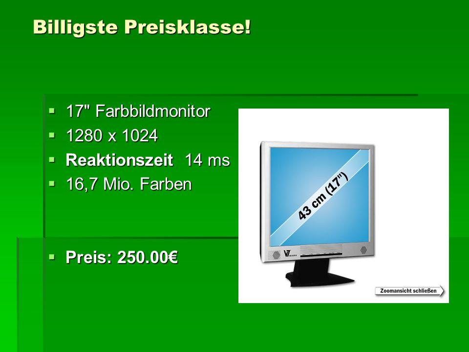 Billigste Preisklasse. 17 Farbbildmonitor  1280 x 1024  Reaktionszeit 14 ms  16,7 Mio.
