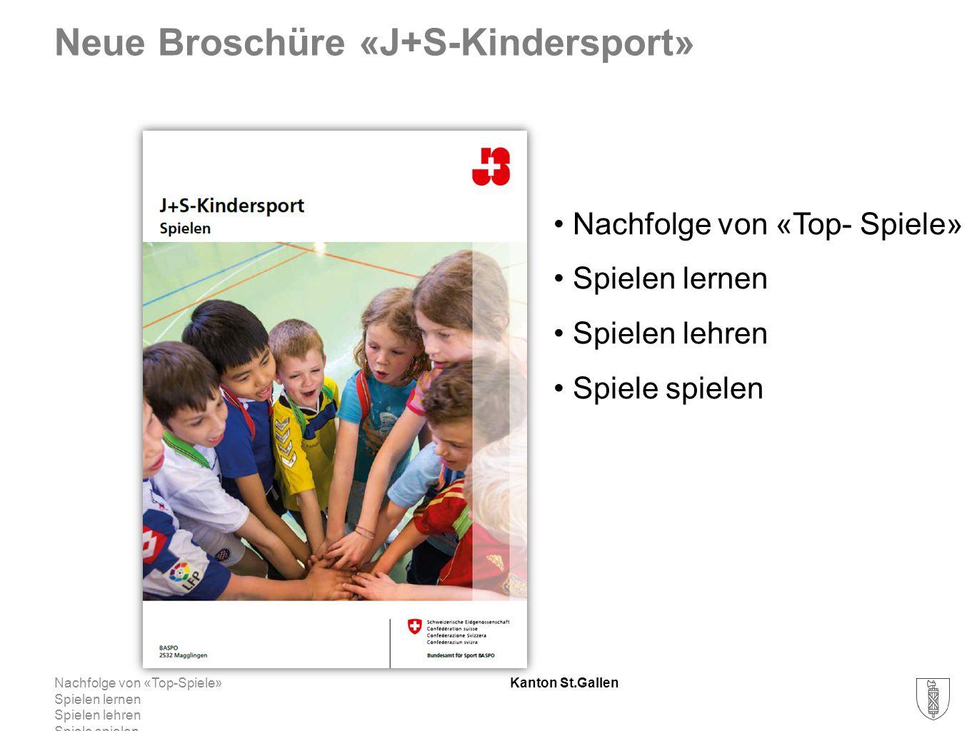 Kanton St.Gallen Neue Broschüre «J+S-Kindersport» Nachfolge von «Top-Spiele» Spielen lernen Spielen lehren Spiele spielen Nachfolge von «Top- Spiele» Spielen lernen Spielen lehren Spiele spielen